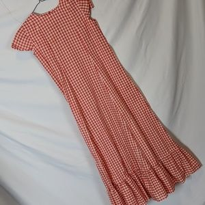 Red gingham hand made child dress, M/L, 19/21